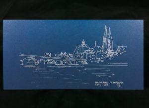 Weihnachtskarte Offsetdruck silber, auf Papier Gmund Colors 300 gr