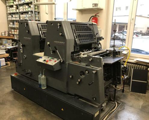 Drucksaal, Offsetdruckerei Erdei, hier GTO 52-2 seitlicher Blick