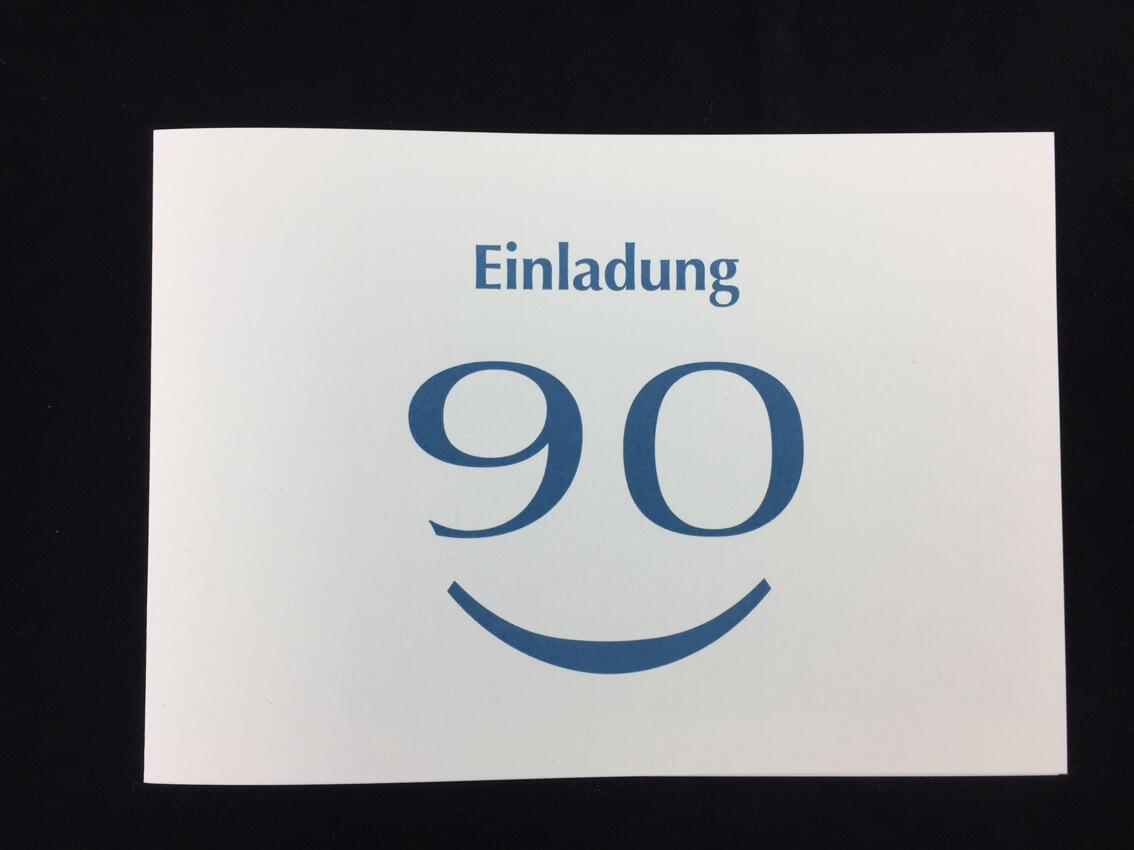 Einladung 90 Geburtstag Klappkarte Im Postkartenformat Farbiger