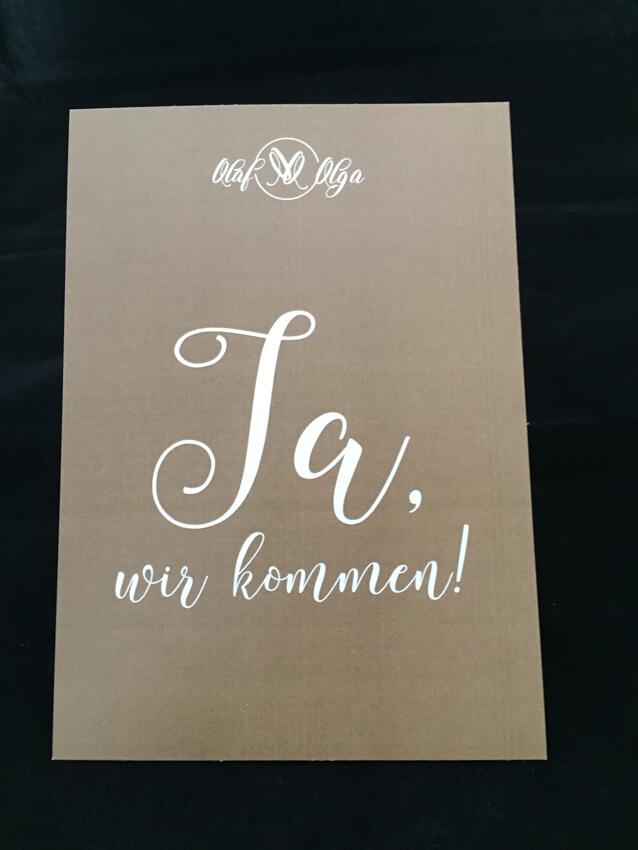 Hochzeitseinladungskarte, vollflächig Gold im Digitaldruck, Papier weiß 350 gr