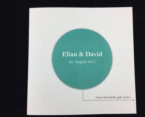 Einladung Hochzeit, quadratisch, farbiger Digitaldruck, Papier naturweiß 250 gr