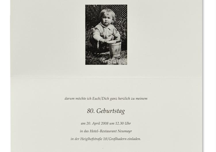 Einladung zu einer Geburtstagsfeier, mit Kinderfoto, Papier naturweiß