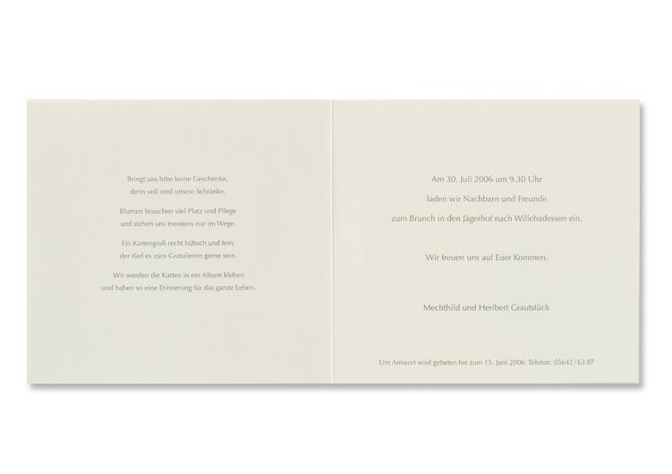 Einladung Zur Goldenen Hochzeit Grauer Offsetdruck Druckerei