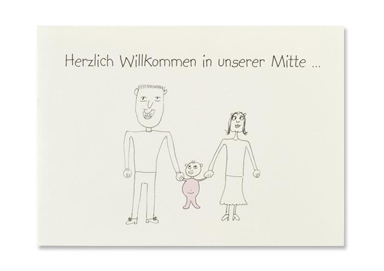 Geburtsanzeige Seite 1, Zeichnung wurde von uns digitalisiert