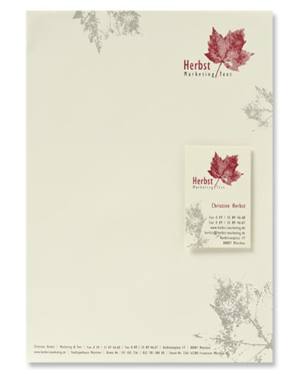 Geschäftsdrucksachen, Briefpapier und Visitenkarten, Papier creme