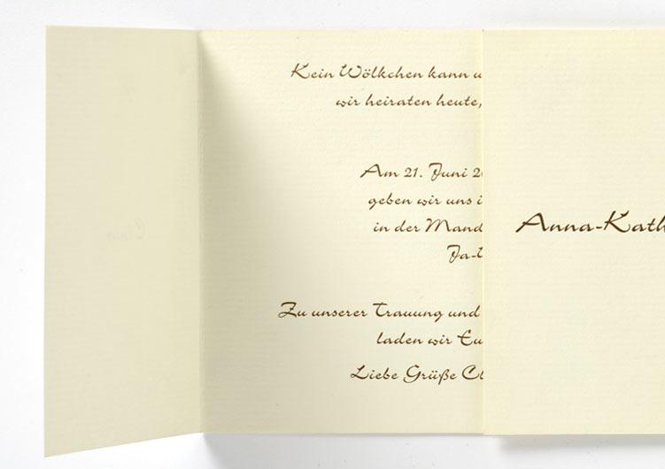 Hochzeitseinladung, Altarfalz, brauner Offstedruck