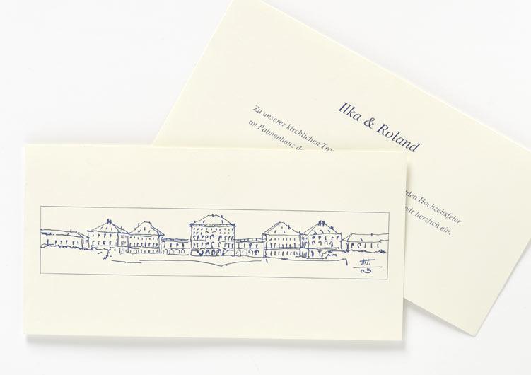Hochzeitseinladung mit Strichzeichnung des Nymphenburger Schlosses