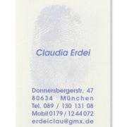 Visitenkarte mit Fingerabdruck